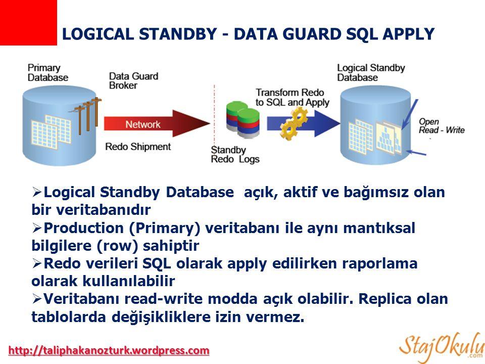 LOGICAL STANDBY - DATA GUARD SQL APPLY  Logical Standby Database açık, aktif ve bağımsız olan bir veritabanıdır  Production (Primary) veritabanı ile aynı mantıksal bilgilere (row) sahiptir  Redo verileri SQL olarak apply edilirken raporlama olarak kullanılabilir  Veritabanı read-write modda açık olabilir.