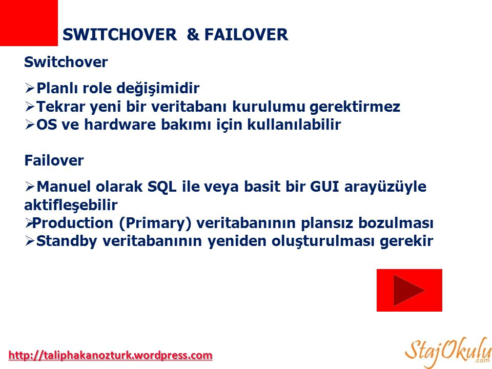 SWITCHOVER & FAILOVER Switchover  Planlı role değişimidir  Tekrar yeni bir veritabanı kurulumu gerektirmez  OS ve hardware bakımı için kullanılabilir Failover  Manuel olarak SQL ile veya basit bir GUI arayüzüyle aktifleşebilir  Production (Primary) veritabanının plansız bozulması  Standby veritabanının yeniden oluşturulması gerekir http://taliphakanozturk.wordpress.com