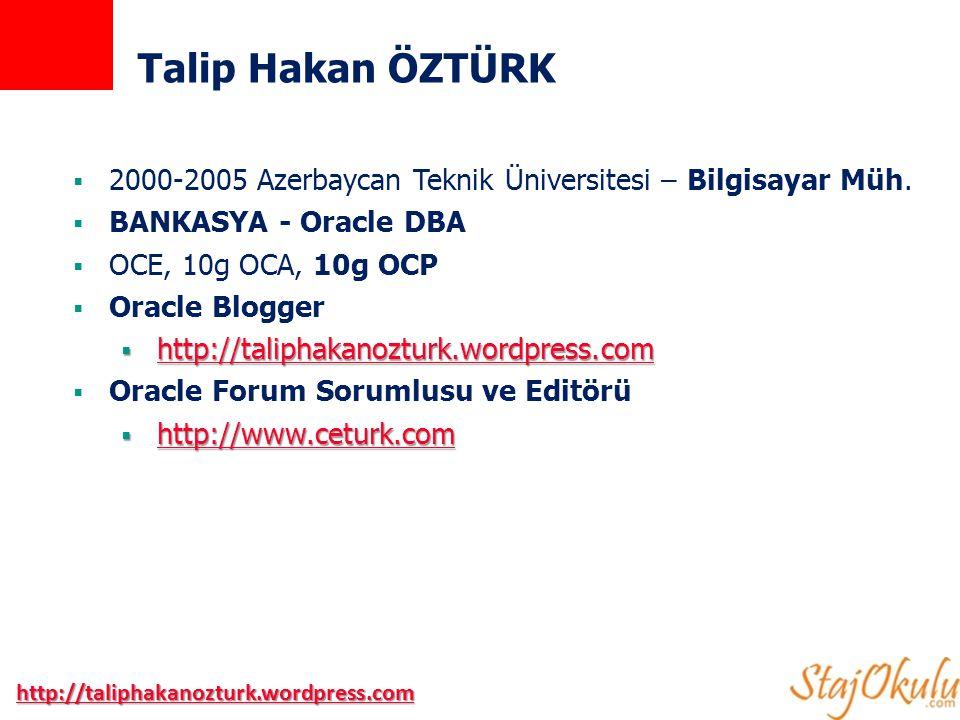 http://taliphakanozturk.wordpress.com Talip Hakan ÖZTÜRK  2000-2005 Azerbaycan Teknik Üniversitesi – Bilgisayar Müh.