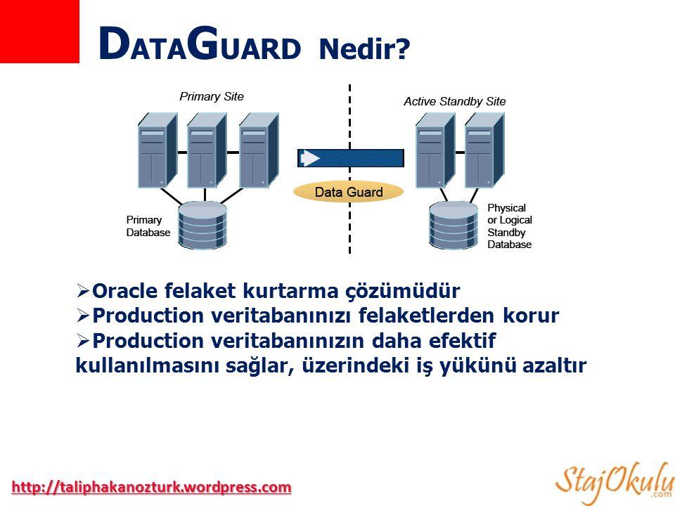  Teknoloji ilk olarak Oracle 7 ile manuel standby veritabanı oluştururarak kullanılmaya başlandı  Oracle 8i ile Data Guard olarak karşımıza çıktı  ORACLE 8i  Read-Only Standby Veritabanı  Managed recovery  Redo Log dosyalarını Uzak(Remote) arşivlenmesi  ORALCE 9i  Zero Data Loss Entegrasyonu  Data Guard Broker ve Data Guard Manager GUI  Swithcover ve Failover işlemleri  Otomatik senkronizasyon  Logical Standby Veritabanı  Maximum Protection  ORACLE 10g  Real-Time Apply  RAC için güçlendirilmiş destek  Fast-Start Failover  Asenkron redo transferi  Flashback Database  ORACLE 11g  Active Standby Veritabanı(Active Data Guard)  Snapshot Standby  Heterojen platform desteği (Production –Linux, Standby - Windows) Geçmişten Günümüze Data Guard