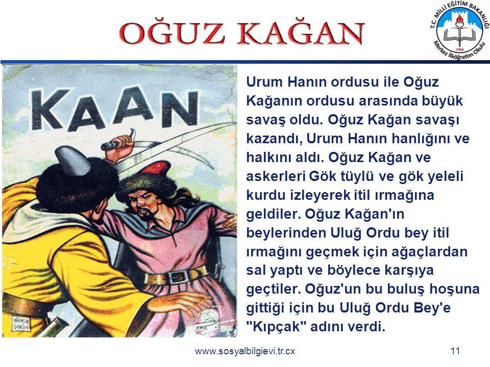 LOGO www.sosyalbilgievi.tr.cx11 Urum Hanın ordusu ile Oğuz Kağanın ordusu arasında büyük savaş oldu.