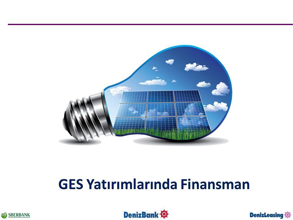 Örnek Proje Finansmanı Modeli Kapasite 1,000 kWp Yıllık Brüt Üretim : 1,650,000 (kWh / kWp) Yatırım Toplam Yatırım : 1,4 mio usd (~ 80% ekipman) (55% modül, 15% invertör, 10% inşaat) 25% Özkaynak Finansman 75% Leasing Finansman Vadesi : 10 yıl Faiz : Sabit usd Ortalama Borç / Servis Karşılama Oranı : 1,20