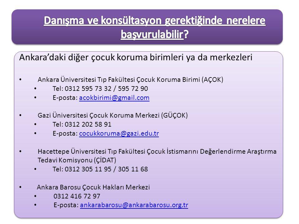 Ankara'daki diğer çocuk koruma birimleri ya da merkezleri Ankara Üniversitesi Tıp Fakültesi Çocuk Koruma Birimi (AÇOK) Tel: 0312 595 73 32 / 595 72 90