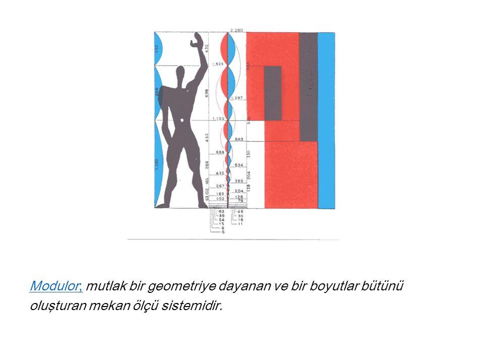 Modulor; mutlak bir geometriye dayanan ve bir boyutlar bütünü oluşturan mekan ölçü sistemidir.