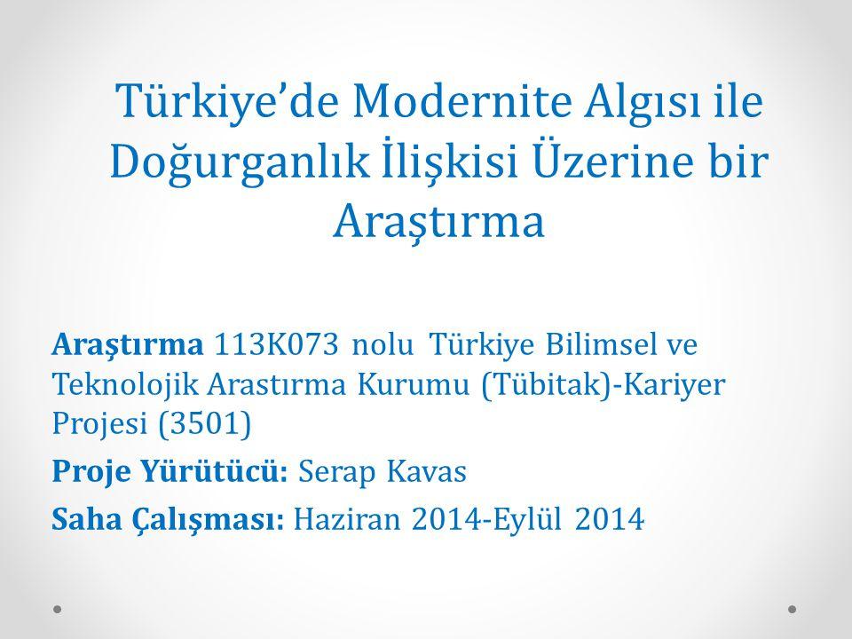 Türkiye'de Modernite Algısı ile Doğurganlık İlişkisi Üzerine bir Araştırma Araştırma 113K073 nolu Türkiye Bilimsel ve Teknolojik Arastırma Kurumu (Tüb