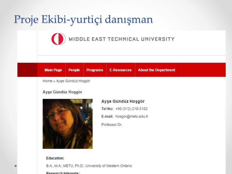 Proje Ekibi-araştırmacı/uzman Yrd. Doç. Dr. Esra AKDENİZ DURAN İstatistik Bölümü, Araştırmacı
