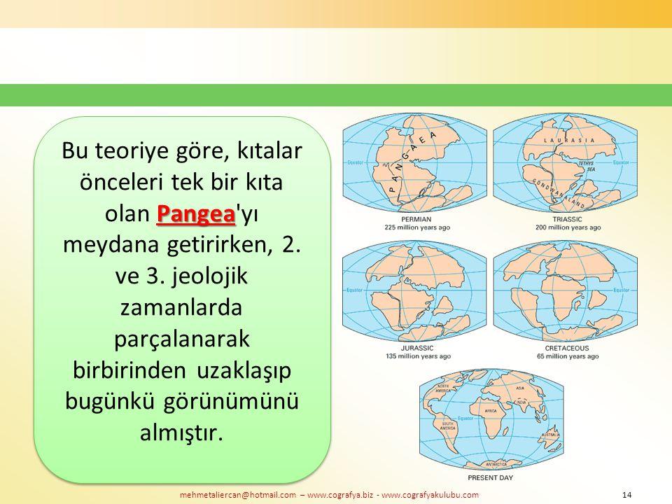 mehmetaliercan@hotmail.com – www.cografya.biz - www.cografyakulubu.com Pangea Bu teoriye göre, kıtalar önceleri tek bir kıta olan Pangea'yı meydana ge