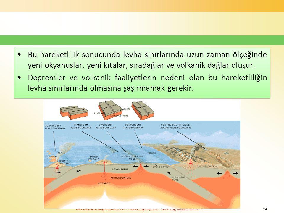 mehmetaliercan@hotmail.com – www.cografya.biz - www.cografyakulubu.com Bu hareketlilik sonucunda levha sınırlarında uzun zaman ölçeğinde yeni okyanusl