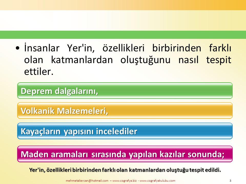 mehmetaliercan@hotmail.com – www.cografya.biz - www.cografyakulubu.com İnsanlar Yer'in, özellikleri birbirinden farklı olan katmanlardan oluştuğunu na