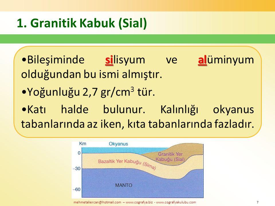 mehmetaliercan@hotmail.com – www.cografya.biz - www.cografyakulubu.com 1. Granitik Kabuk (Sial) sialBileşiminde silisyum ve alüminyum olduğundan bu is