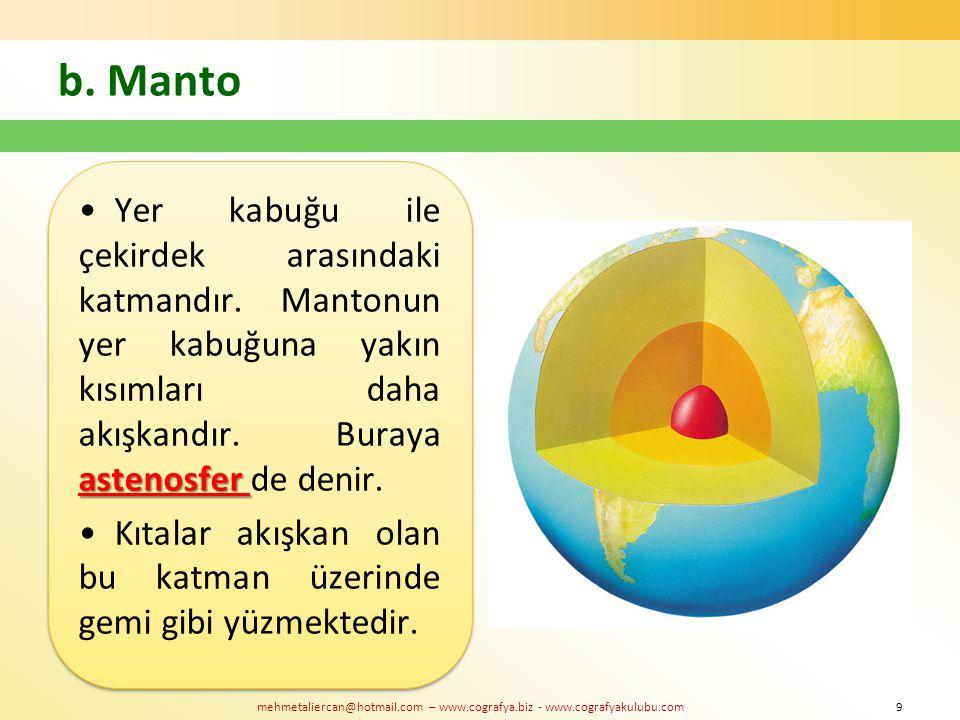 mehmetaliercan@hotmail.com – www.cografya.biz - www.cografyakulubu.com b. Manto astenosferYer kabuğu ile çekirdek arasındaki katmandır. Mantonun yer k