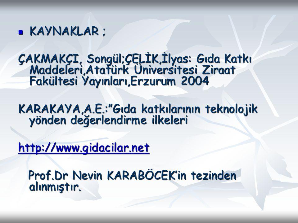 KAYNAKLAR ; KAYNAKLAR ; ÇAKMAKÇI, Songül;ÇELİK,İlyas: Gıda Katkı Maddeleri,Atatürk Üniversitesi Ziraat Fakültesi Yayınları,Erzurum 2004 KARAKAYA,A.E.: