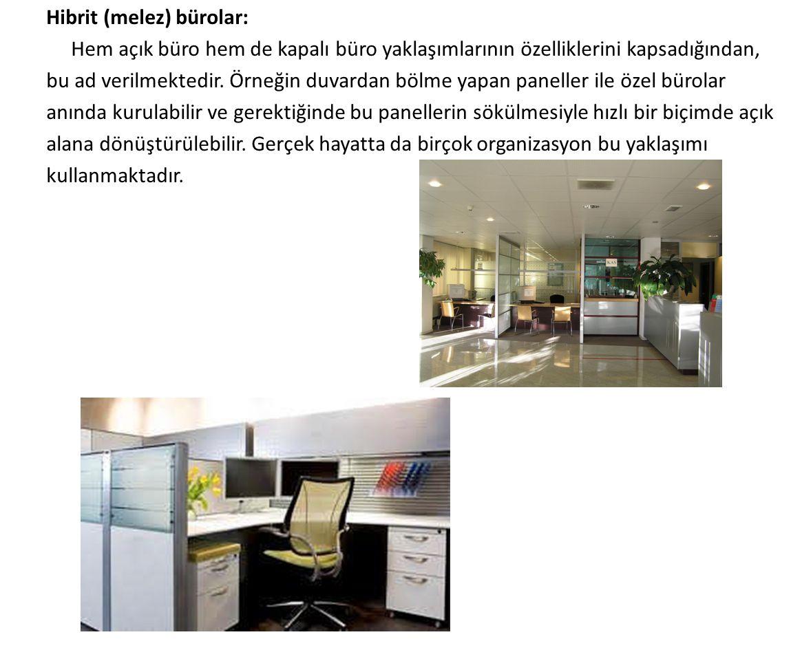 Hibrit (melez) bürolar: Hem açık büro hem de kapalı büro yaklaşımlarının özelliklerini kapsadığından, bu ad verilmektedir. Örneğin duvardan bölme yapa