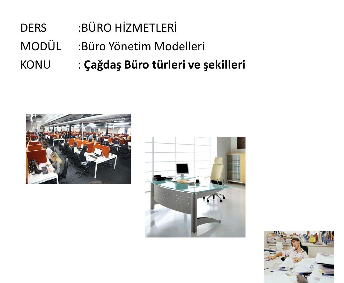 DERS:BÜRO HİZMETLERİ MODÜL:Büro Yönetim Modelleri KONU: Çağdaş Büro türleri ve şekilleri