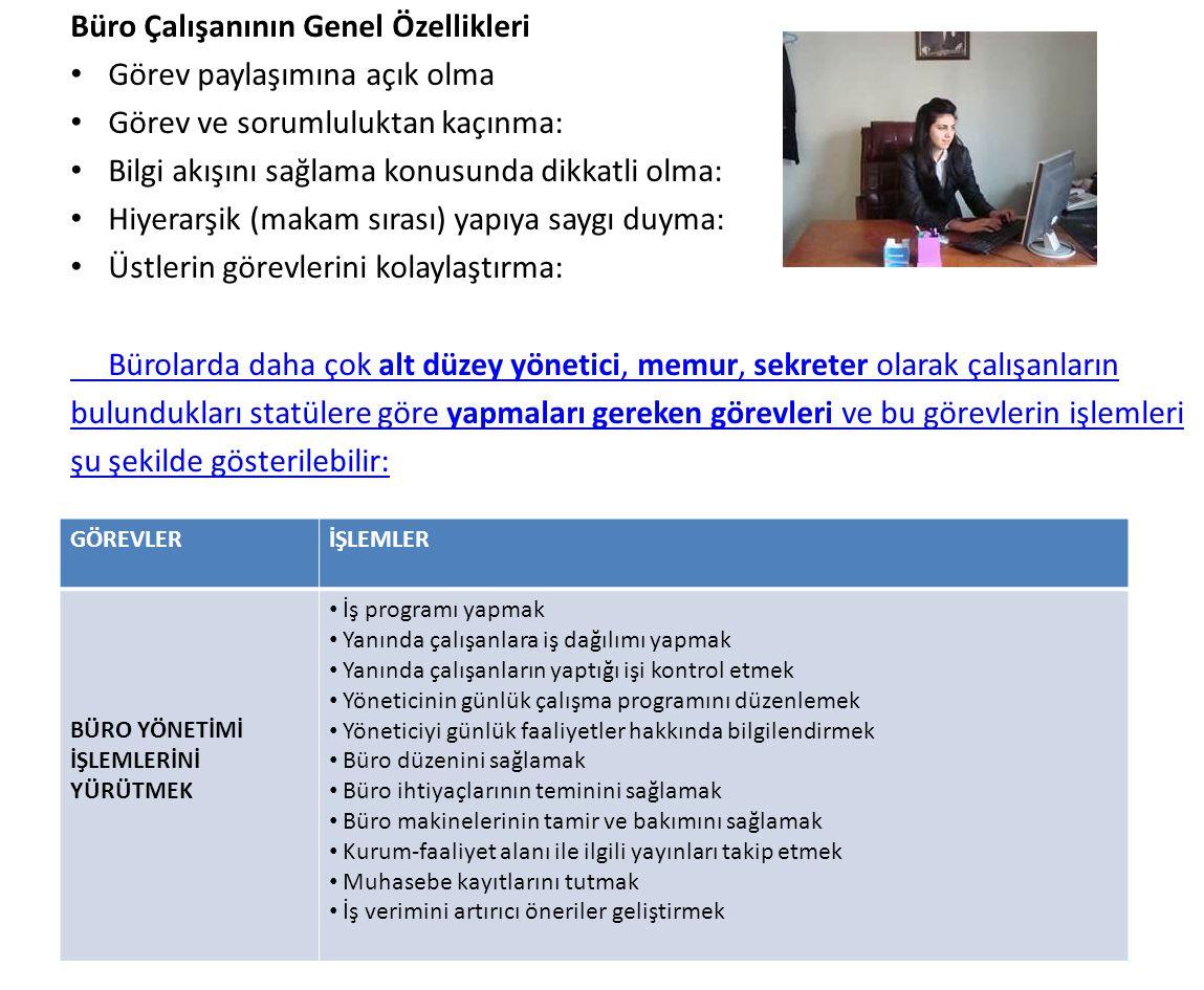 Büro Çalışanının Genel Özellikleri Görev paylaşımına açık olma Görev ve sorumluluktan kaçınma: Bilgi akışını sağlama konusunda dikkatli olma: Hiyerarş