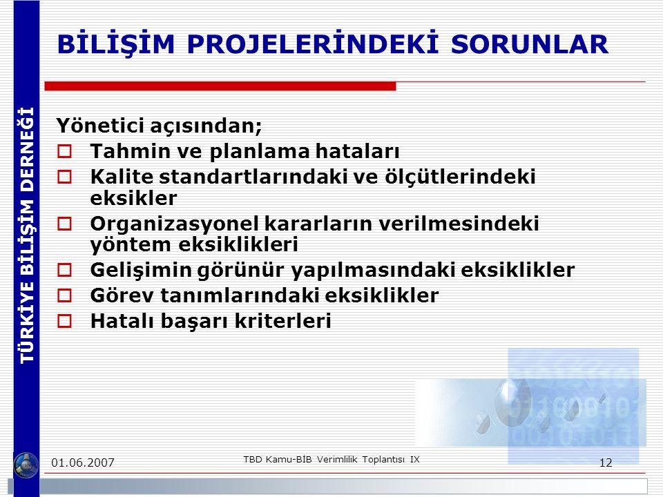 TÜRKİYE BİLİŞİM DERNEĞİ 01.06.2007 TBD Kamu-BİB Verimlilik Toplantısı IX 12 BİLİŞİM PROJELERİNDEKİ SORUNLAR Yönetici açısından;  Tahmin ve planlama hataları  Kalite standartlarındaki ve ölçütlerindeki eksikler  Organizasyonel kararların verilmesindeki yöntem eksiklikleri  Gelişimin görünür yapılmasındaki eksiklikler  Görev tanımlarındaki eksiklikler  Hatalı başarı kriterleri
