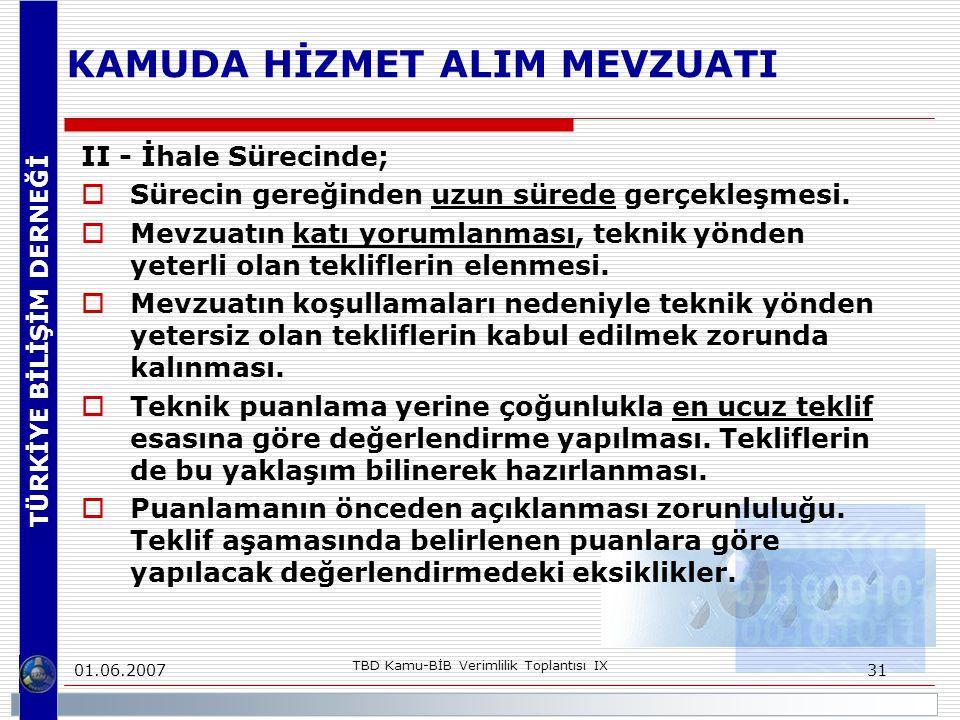 TÜRKİYE BİLİŞİM DERNEĞİ 01.06.2007 TBD Kamu-BİB Verimlilik Toplantısı IX 31 KAMUDA HİZMET ALIM MEVZUATI II - İhale Sürecinde;  Sürecin gereğinden uzu