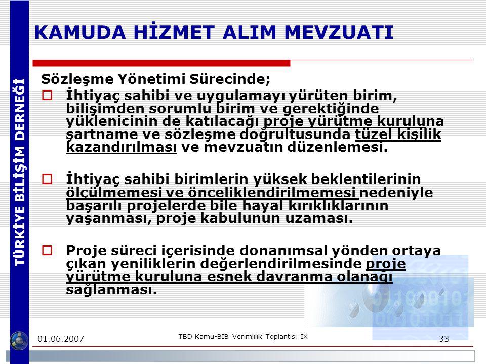 TÜRKİYE BİLİŞİM DERNEĞİ 01.06.2007 TBD Kamu-BİB Verimlilik Toplantısı IX 33 KAMUDA HİZMET ALIM MEVZUATI Sözleşme Yönetimi Sürecinde;  İhtiyaç sahibi ve uygulamayı yürüten birim, bilişimden sorumlu birim ve gerektiğinde yüklenicinin de katılacağı proje yürütme kuruluna şartname ve sözleşme doğrultusunda tüzel kişilik kazandırılması ve mevzuatın düzenlemesi.