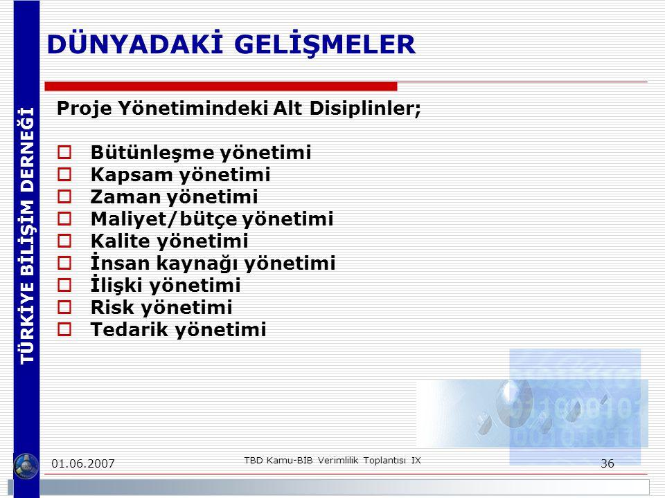 TÜRKİYE BİLİŞİM DERNEĞİ 01.06.2007 TBD Kamu-BİB Verimlilik Toplantısı IX 36 DÜNYADAKİ GELİŞMELER Proje Yönetimindeki Alt Disiplinler;  Bütünleşme yön