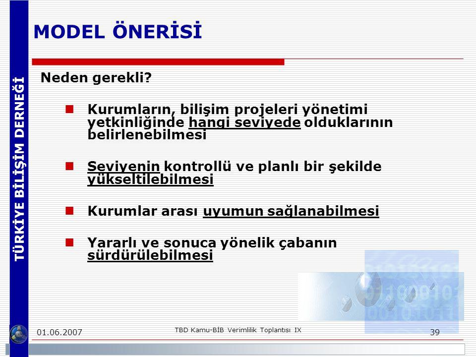 TÜRKİYE BİLİŞİM DERNEĞİ 01.06.2007 TBD Kamu-BİB Verimlilik Toplantısı IX 39 MODEL ÖNERİSİ Neden gerekli.