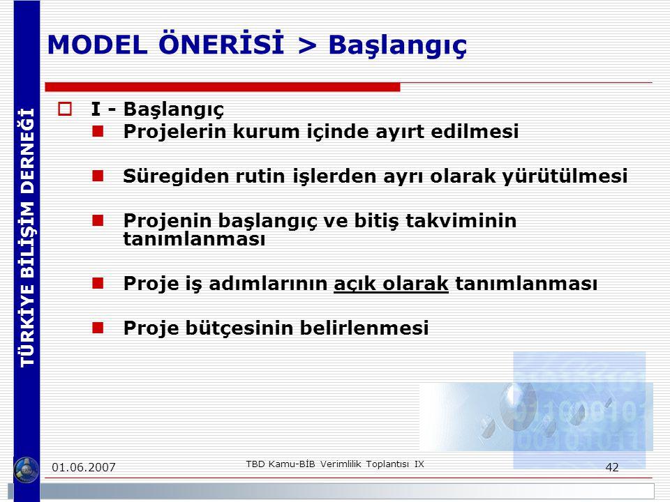TÜRKİYE BİLİŞİM DERNEĞİ 01.06.2007 TBD Kamu-BİB Verimlilik Toplantısı IX 42 MODEL ÖNERİSİ > Başlangıç  I - Başlangıç Projelerin kurum içinde ayırt ed