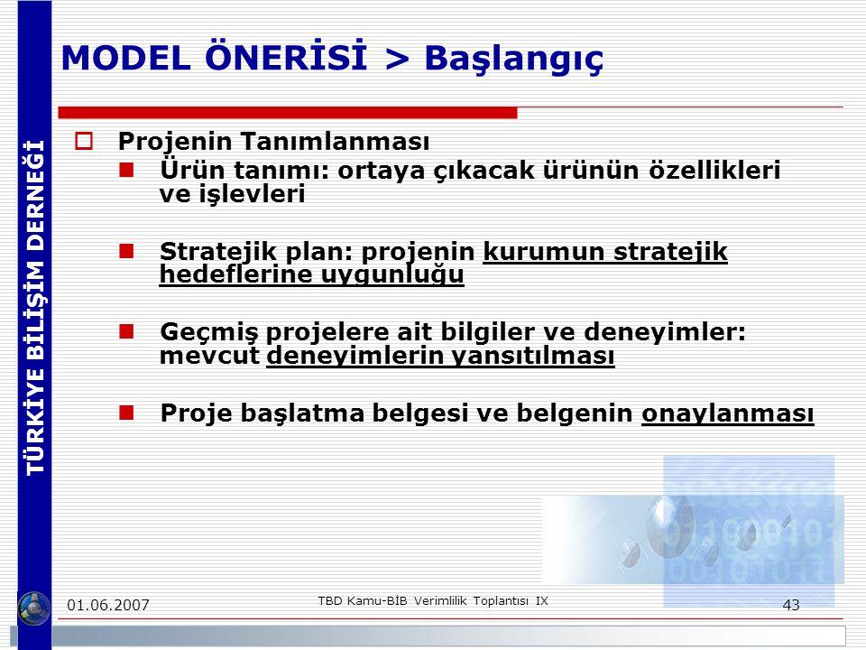 TÜRKİYE BİLİŞİM DERNEĞİ 01.06.2007 TBD Kamu-BİB Verimlilik Toplantısı IX 43 MODEL ÖNERİSİ > Başlangıç  Projenin Tanımlanması Ürün tanımı: ortaya çıkacak ürünün özellikleri ve işlevleri Stratejik plan: projenin kurumun stratejik hedeflerine uygunluğu Geçmiş projelere ait bilgiler ve deneyimler: mevcut deneyimlerin yansıtılması Proje başlatma belgesi ve belgenin onaylanması