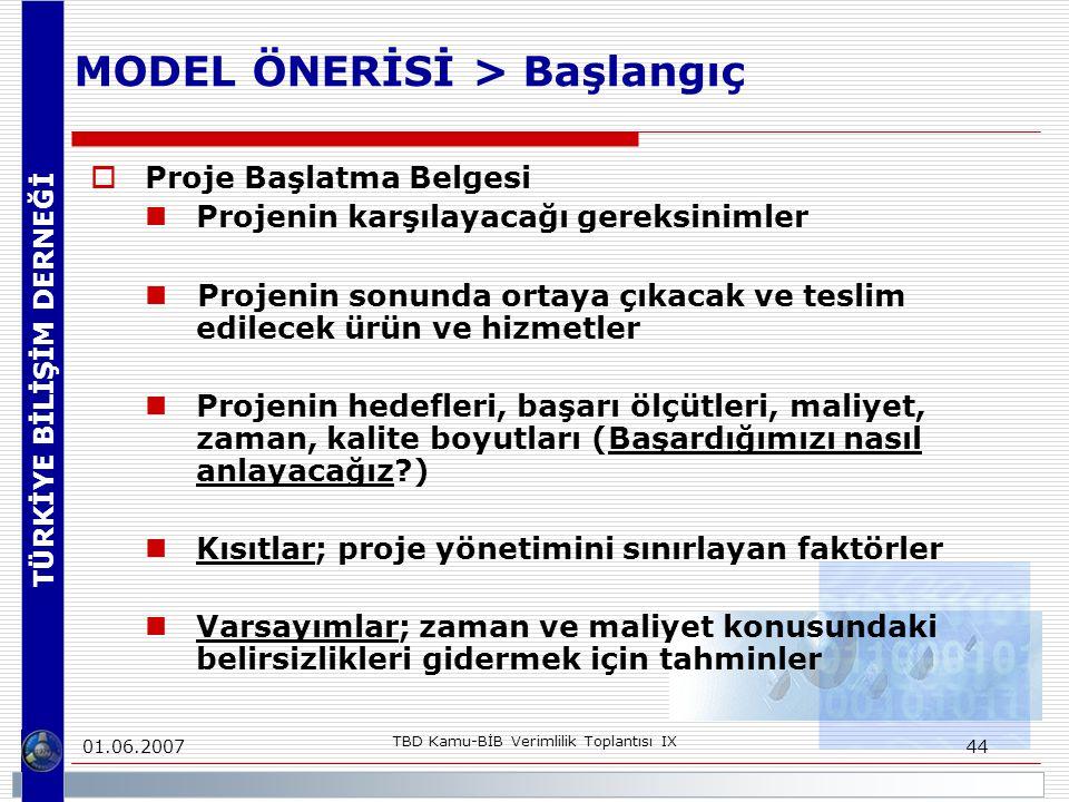 TÜRKİYE BİLİŞİM DERNEĞİ 01.06.2007 TBD Kamu-BİB Verimlilik Toplantısı IX 44 MODEL ÖNERİSİ > Başlangıç  Proje Başlatma Belgesi Projenin karşılayacağı gereksinimler Projenin sonunda ortaya çıkacak ve teslim edilecek ürün ve hizmetler Projenin hedefleri, başarı ölçütleri, maliyet, zaman, kalite boyutları (Başardığımızı nasıl anlayacağız?) Kısıtlar; proje yönetimini sınırlayan faktörler Varsayımlar; zaman ve maliyet konusundaki belirsizlikleri gidermek için tahminler