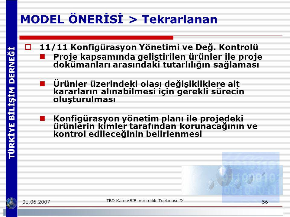 TÜRKİYE BİLİŞİM DERNEĞİ 01.06.2007 TBD Kamu-BİB Verimlilik Toplantısı IX 56 MODEL ÖNERİSİ > Tekrarlanan  11/11 Konfigürasyon Yönetimi ve Değ. Kontrol
