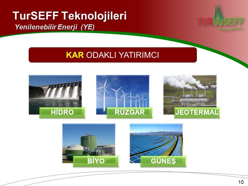 HİDRORÜZGARJEOTERMAL BİYOGÜNEŞ 10 TurSEFF Teknolojileri Yenilenebilir Enerji (YE) KAR ODAKLI YATIRIMCI