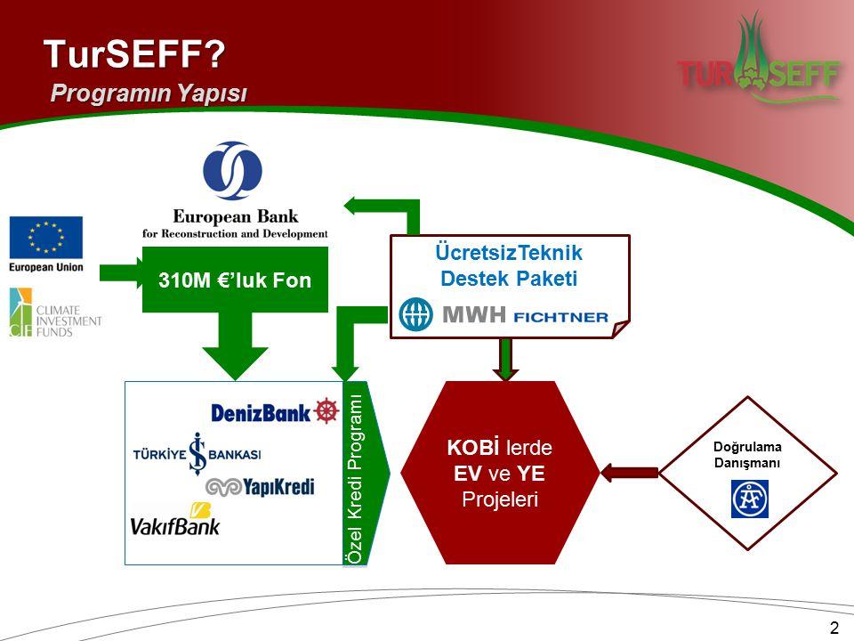 310M €'luk Fon Özel Kredi Programı KOBİ lerde EV ve YE Projeleri ÜcretsizTeknik Destek Paketi Doğrulama DanışmanıTurSEFF? Programın Yapısı 2