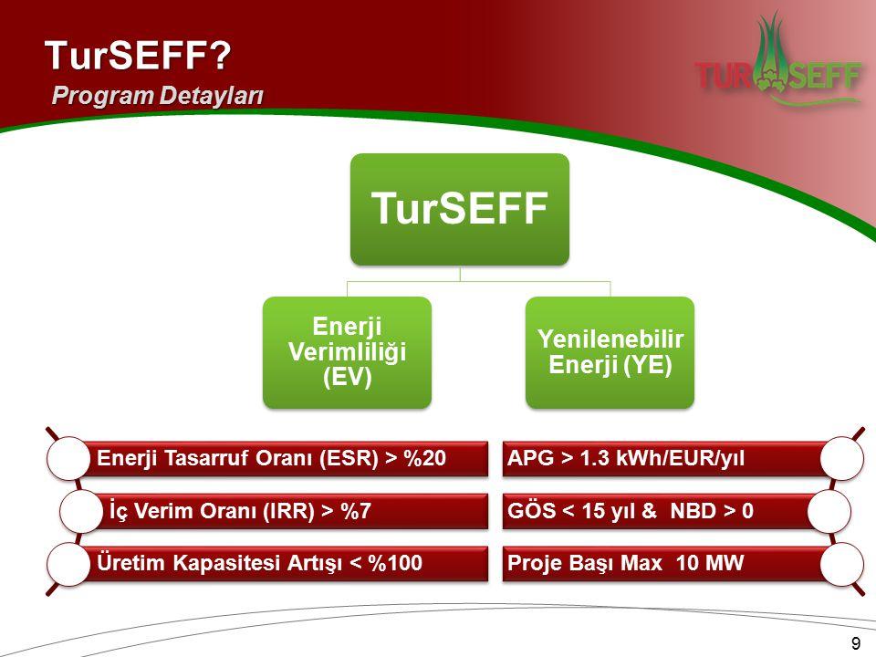 TurSEFF Enerji Verimliliği (EV) Yenilenebilir Enerji (YE) Enerji Tasarruf Oranı (ESR) > %20 İç Verim Oranı (IRR) > %7 Üretim Kapasitesi Artışı < %100 APG > 1.3 kWh/EUR/yıl GÖS 0 Proje Başı Max 10 MW 9TurSEFF.