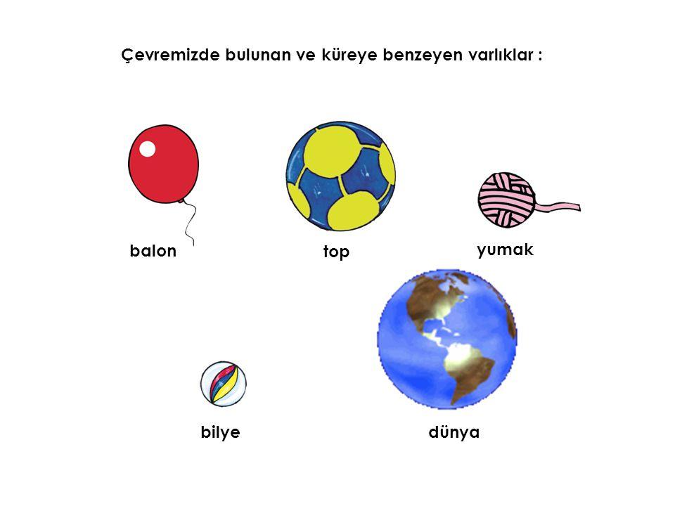 Çevremizde bulunan ve küreye benzeyen varlıklar : top yumak dünya balon bilye