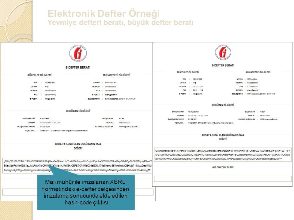Elektronik Defter Örneği Yevmiye defteri beratı, büyük defter beratı Mali mühür ile imzalanan XBRL Formatındaki e-defter belgesinden imzalama sonucund