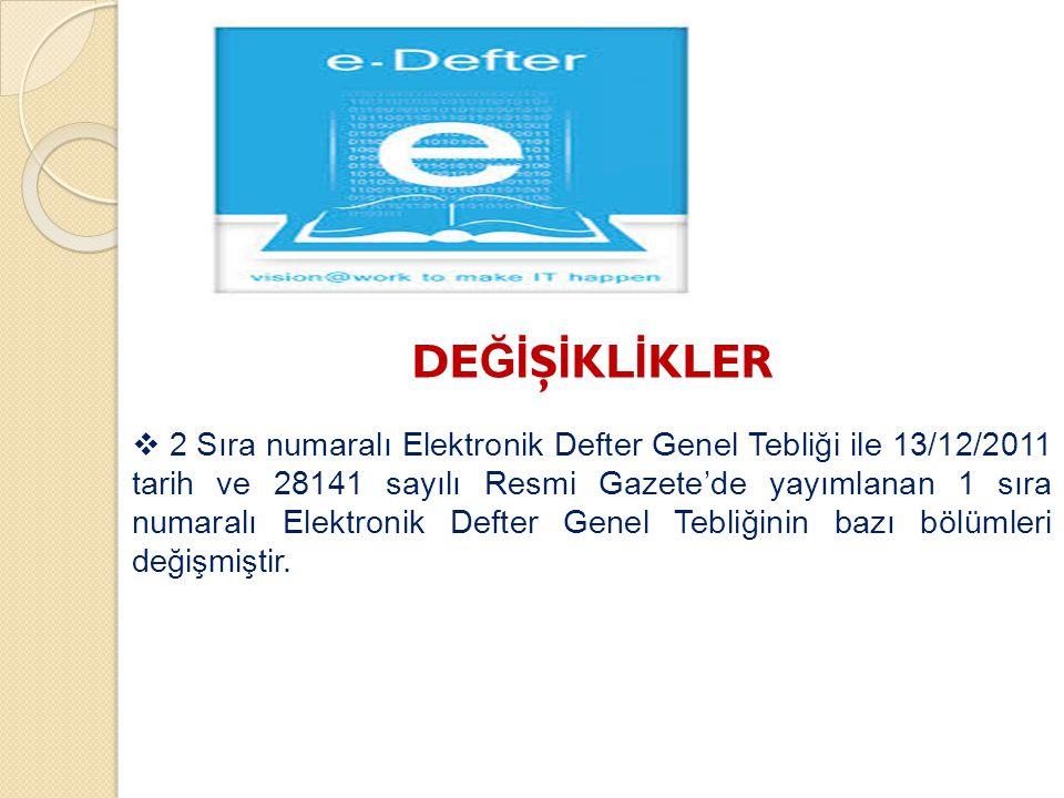 DE Ğİ Ş İ KL İ KLER  2 Sıra numaralı Elektronik Defter Genel Tebliği ile 13/12/2011 tarih ve 28141 sayılı Resmi Gazete'de yayımlanan 1 sıra numaralı