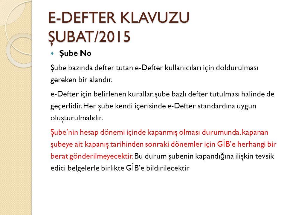 E-DEFTER KLAVUZU ŞUBAT/2015 Şube No Şube bazında defter tutan e-Defter kullanıcıları için doldurulması gereken bir alandır. e-Defter için belirlenen k