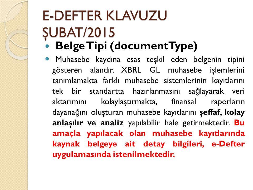 E-DEFTER KLAVUZU ŞUBAT/2015 Belge Tipi (documentType) Muhasebe kaydına esas teşkil eden belgenin tipini gösteren alandır. XBRL GL muhasebe işlemlerini