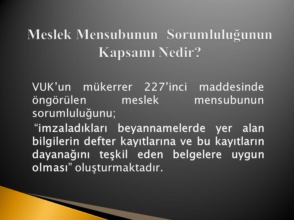 VUK'un mükerrer 227'inci maddesinde öngörülen meslek mensubunun sorumluluğunu; imzaladıkları beyannamelerde yer alan bilgilerin defter kayıtlarına ve bu kayıtların dayanağını teşkil eden belgelere uygun olması oluşturmaktadır.