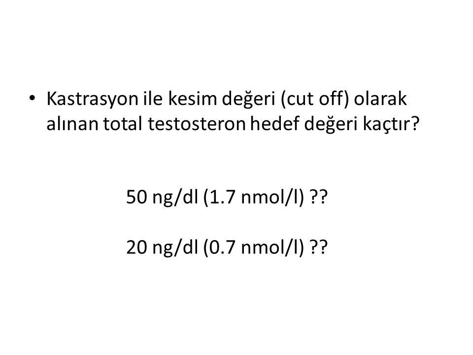 Kastrasyon ile kesim değeri (cut off) olarak alınan total testosteron hedef değeri kaçtır? 50 ng/dl (1.7 nmol/l) ?? 20 ng/dl (0.7 nmol/l) ??
