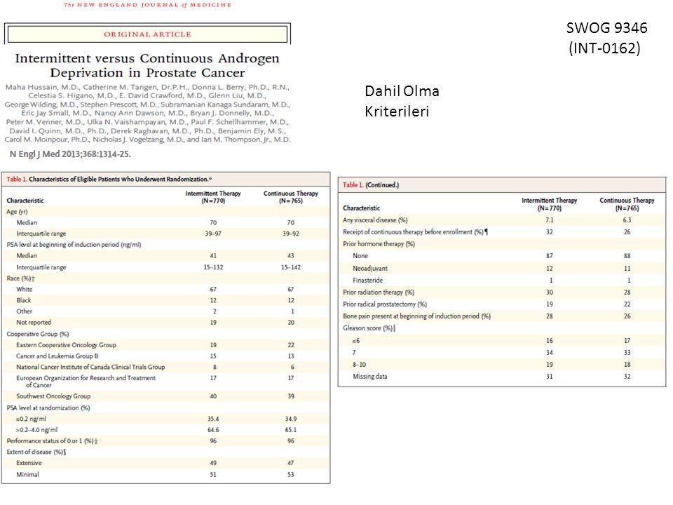 SWOG 9346 (INT-0162) Dahil Olma Kriterileri