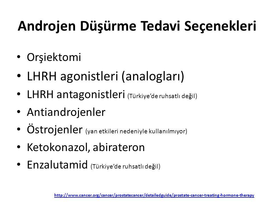 Androjen Düşürme Tedavi Seçenekleri Orşiektomi LHRH agonistleri (analogları) LHRH antagonistleri (Türkiye'de ruhsatlı değil) Antiandrojenler Östrojenl