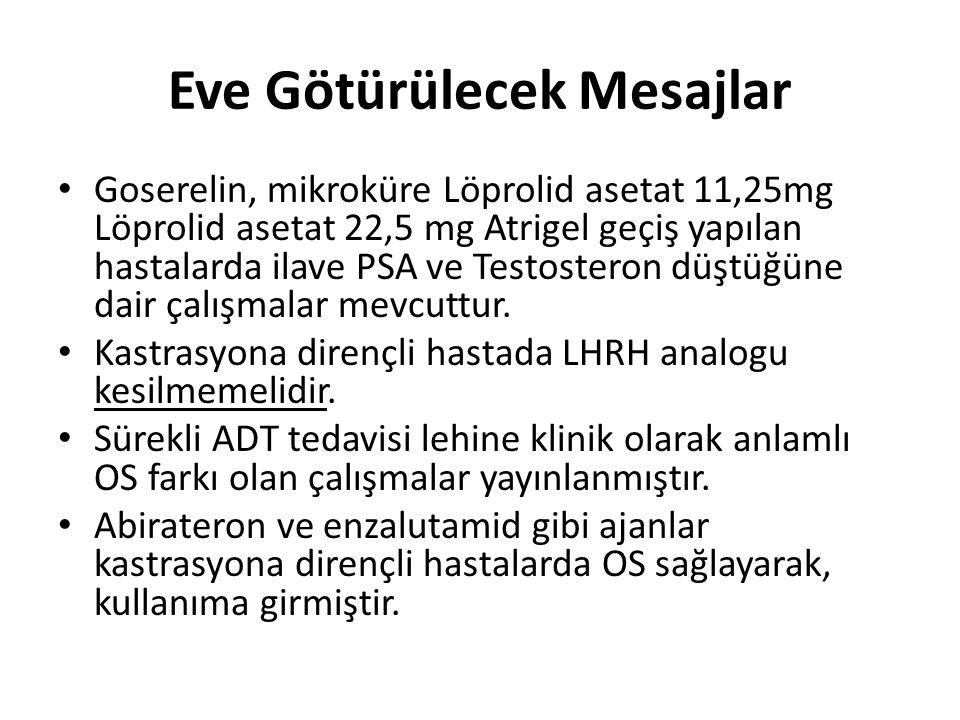 Eve Götürülecek Mesajlar Goserelin, mikroküre Löprolid asetat 11,25mg Löprolid asetat 22,5 mg Atrigel geçiş yapılan hastalarda ilave PSA ve Testostero