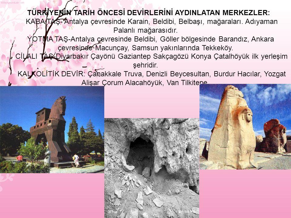 TÜRKİYENİN TARİH ÖNCESİ DEVİRLERİNİ AYDINLATAN MERKEZLER: KABA TAŞ- Antalya çevresinde Karain, Beldibi, Belbaşı, mağaraları.
