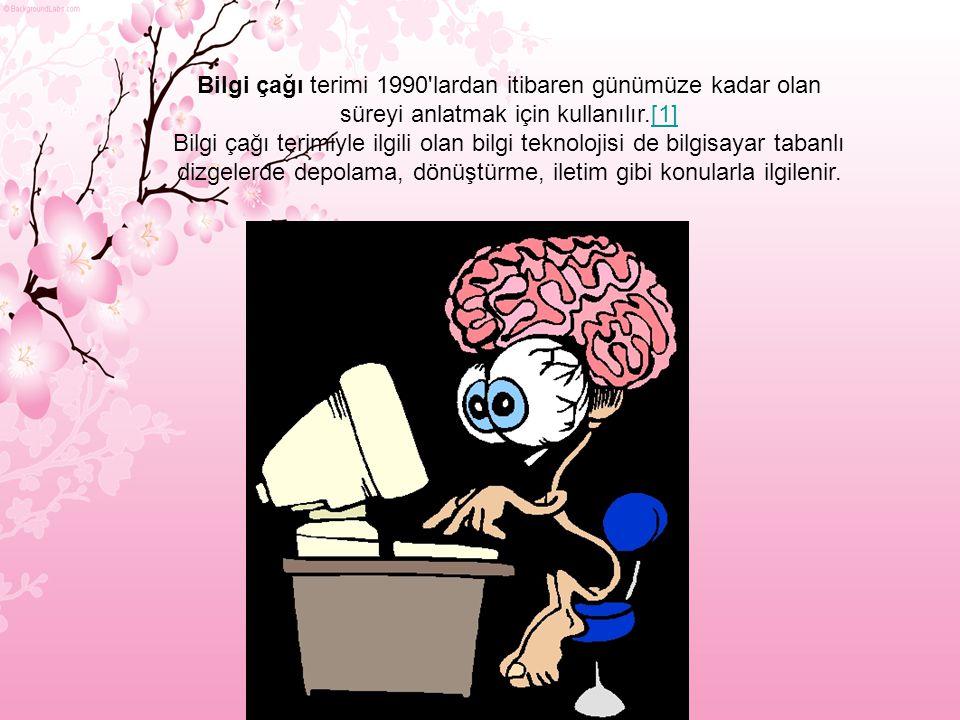 Bilgi çağı terimi 1990 lardan itibaren günümüze kadar olan süreyi anlatmak için kullanılır.[1][1] Bilgi çağı terimiyle ilgili olan bilgi teknolojisi de bilgisayar tabanlı dizgelerde depolama, dönüştürme, iletim gibi konularla ilgilenir.