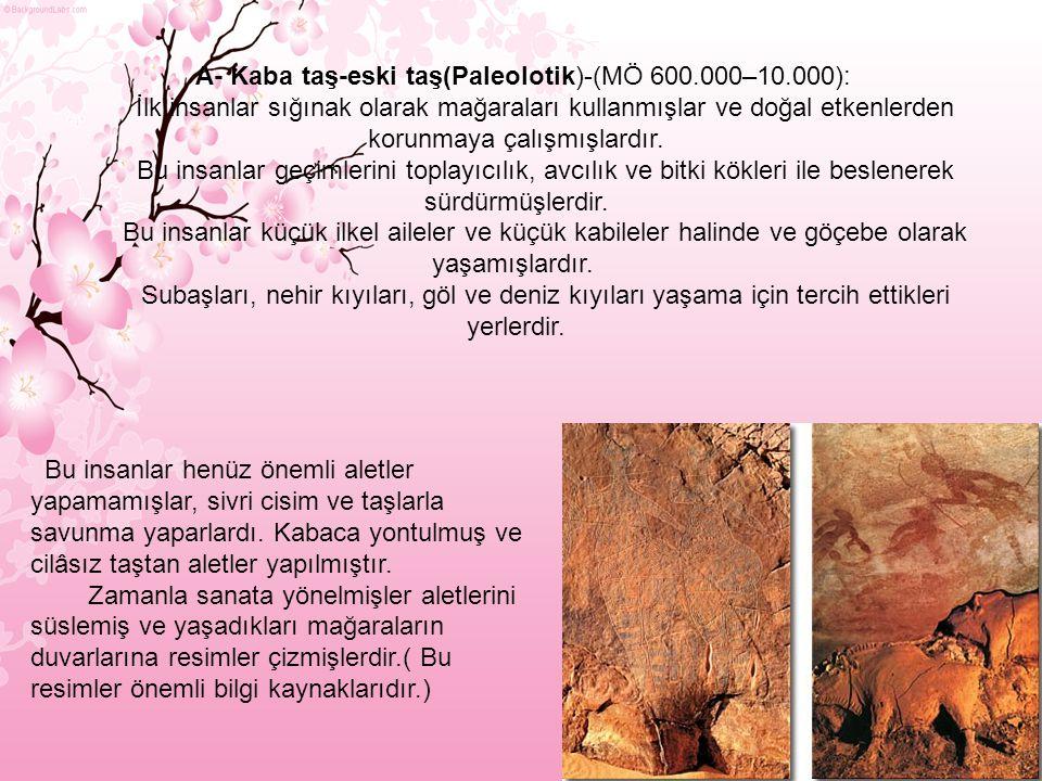 A- Kaba taş-eski taş(Paleolotik)-(MÖ 600.000–10.000): İlk insanlar sığınak olarak mağaraları kullanmışlar ve doğal etkenlerden korunmaya çalışmışlardır.