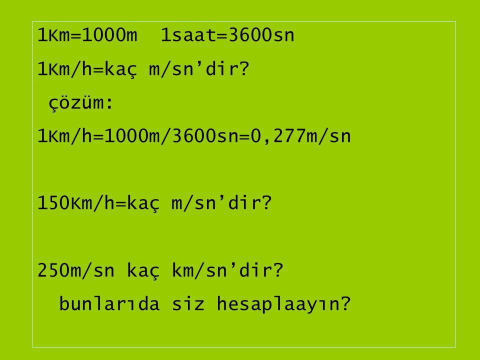 1Km=1000m 1saat=3600sn 1Km/h=kaç m/sn'dir.