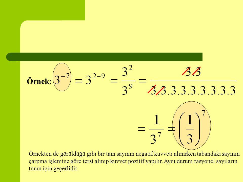 Örnek: Örnekten de görüldüğü gibi bir tam sayının negatif kuvveti alınırken tabandaki sayının çarpma işlemine göre tersi alınıp kuvvet pozitif yapılır