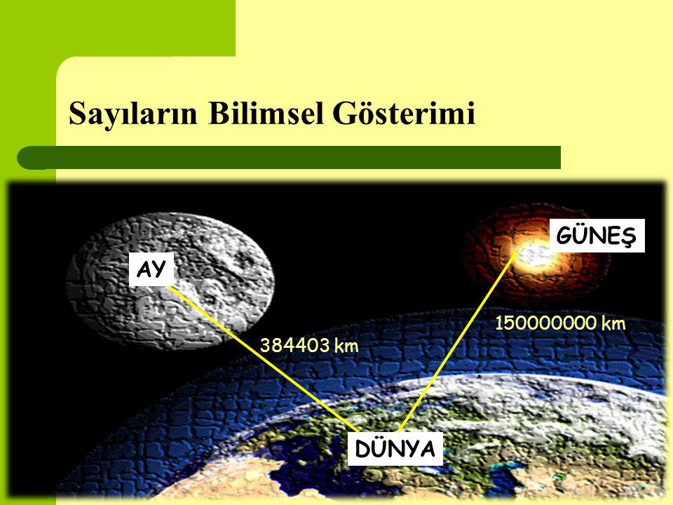 Sayıların Bilimsel Gösterimi DÜNYA AY GÜNEŞ 150000000 km 384403 km