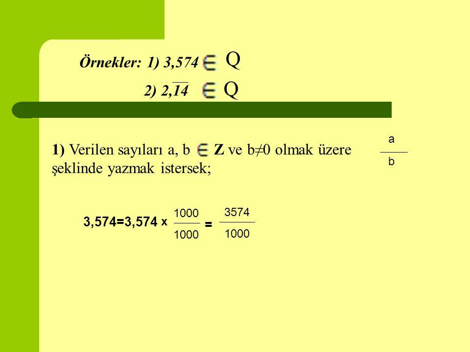 Örnekler: 1) 3,574 Q 1) Verilen sayıları a, b Z ve b≠0 olmak üzere şeklinde yazmak istersek; a b 3,574=3,574 1000 x = 3574 1000 2) 2,14 Q