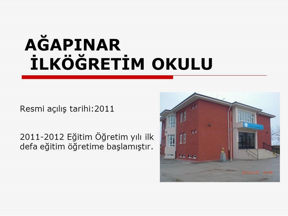 AĞAPINAR İLKÖĞRETİM OKULU Resmi açılış tarihi:2011 2011-2012 Eğitim Öğretim yılı ilk defa eğitim öğretime başlamıştır.