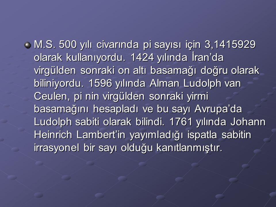 M.S. 500 yılı civarında pi sayısı için 3,1415929 olarak kullanıyordu. 1424 yılında İran'da virgülden sonraki on altı basamağı doğru olarak biliniyordu